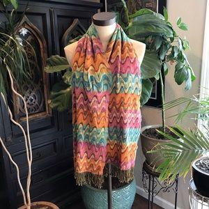 Anthropologie tribal print fringed scarf